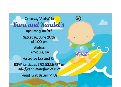 Surf Boy - Baby Shower Petite Invitations Blonde Hair