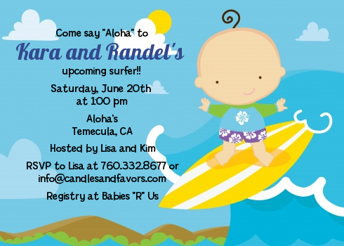 Surf Boy - Baby Shower Invitations Blonde Hair