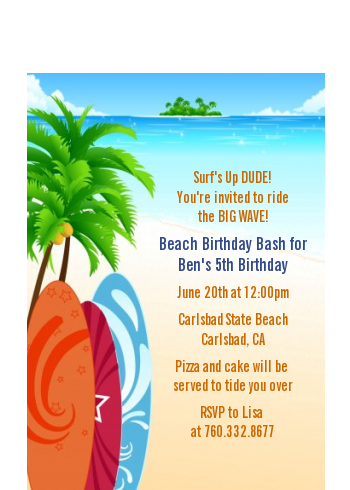 Surf's Up - Birthday Party Petite Invitations
