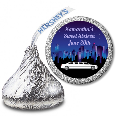 Sweet 16 Limo - Hershey Kiss Birthday Party Sticker Labels