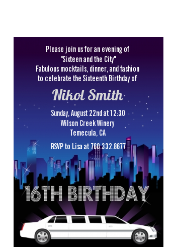 Sweet 16 Limo - Birthday Party Petite Invitations 16th Birthday