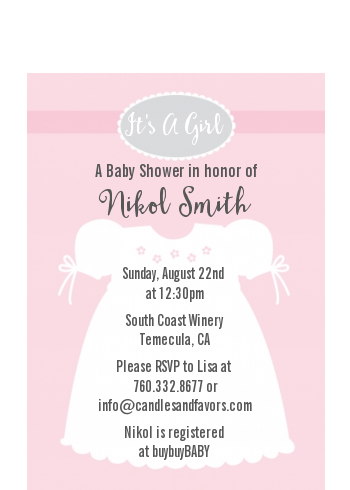 Sweet Little Lady - Baby Shower Petite Invitations