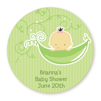 Sweet Pea Asian Girl   Round Personalized Baby Shower Sticker Labels