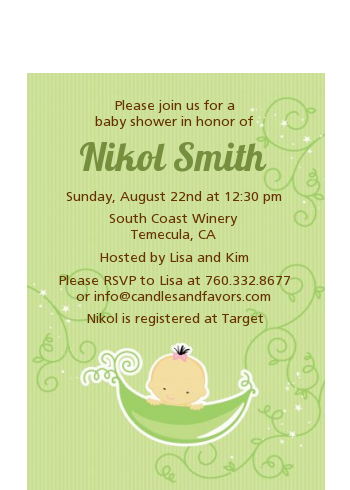 Sweet Pea Asian Girl - Baby Shower Petite Invitations