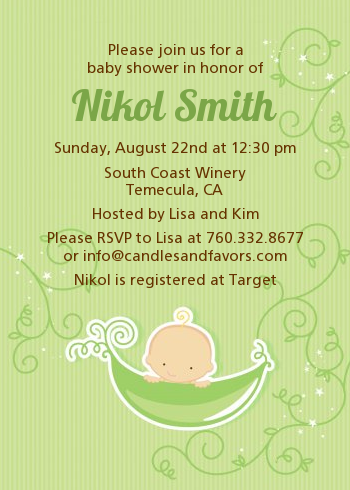 Superb Sweet Pea Caucasian Boy   Baby Shower Invitations