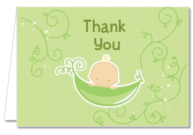 Sweet Pea Caucasian Boy   Baby Shower Thank You Cards