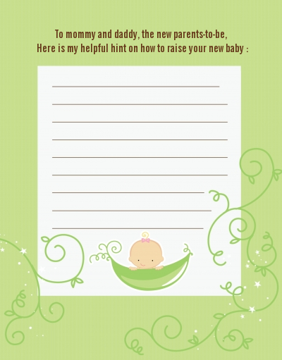 Sweet Pea Caucasian Girl - Baby Shower Notes of Advice
