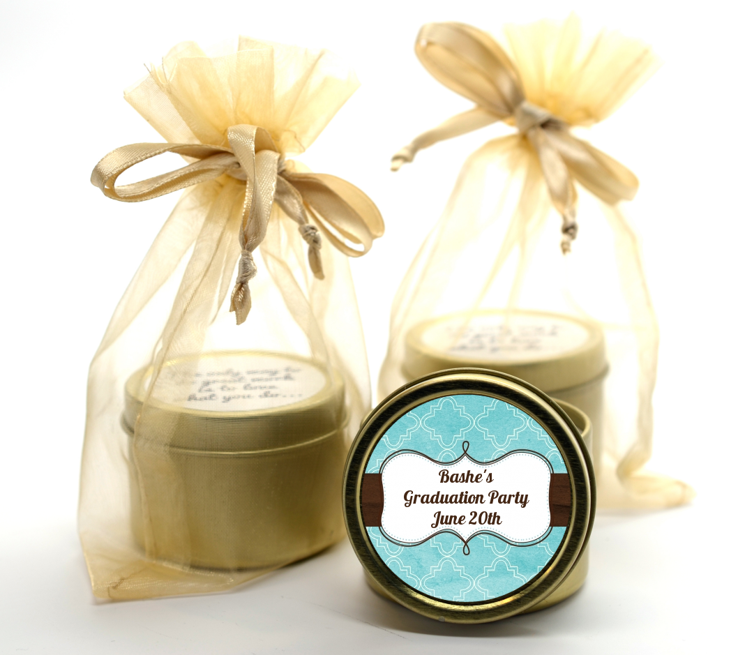 Teal & Brown Gold Tin Candle Favors | Candles & Favors