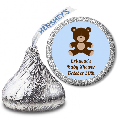 Teddy Bear Blue - Hershey Kiss Baby Shower Sticker Labels