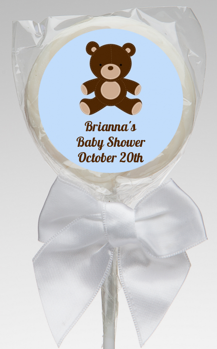 Teddy Bear Blue Baby Shower Lollipop Favors Teddy Bear Blue