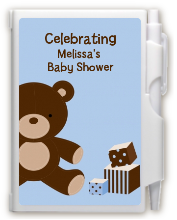 Teddy Bear Blue - Baby Shower Personalized Notebook Favor