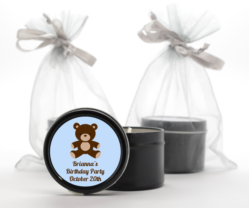 Teddy Bear - Birthday Party Black Candle Tin Favors Blue