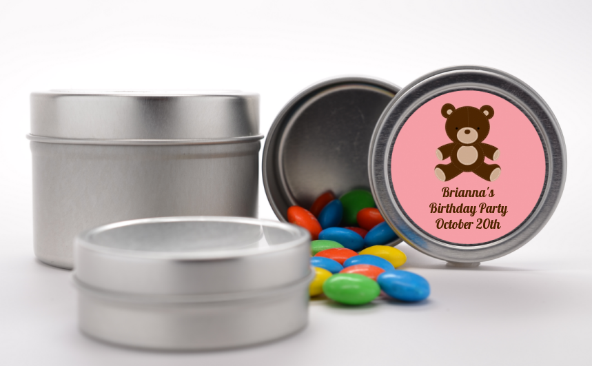 Teddy Bear - Custom Birthday Party Favor Tins Blue