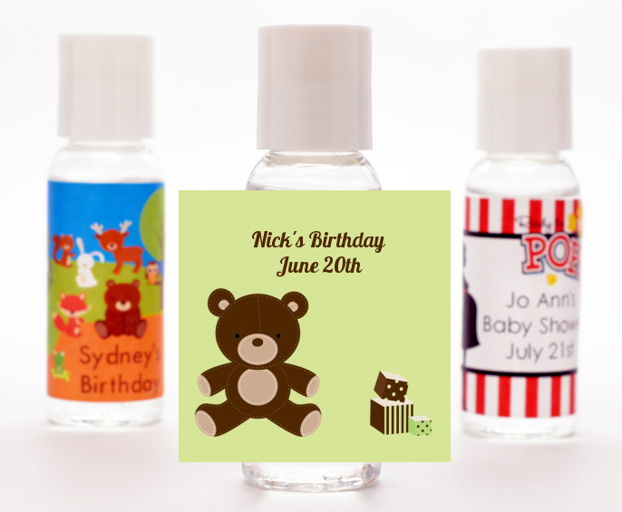 Teddy Bear - Personalized Birthday Party Hand Sanitizers Favors Blue