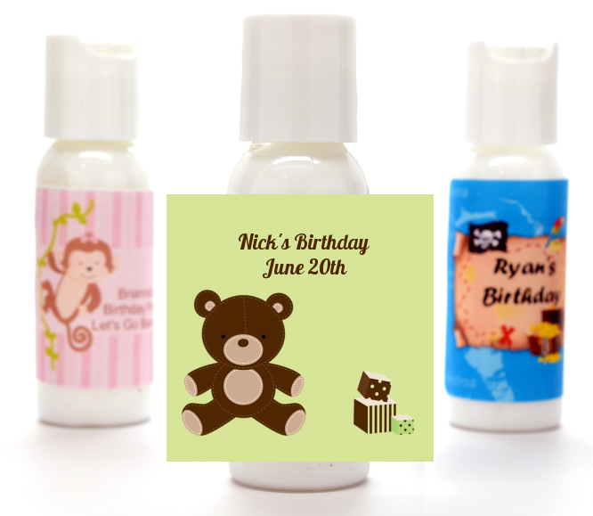 Teddy Bear - Personalized Birthday Party Lotion Favors Blue