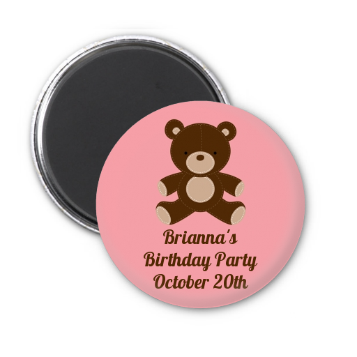 Teddy Bear - Personalized Birthday Party Magnet Favors Blue