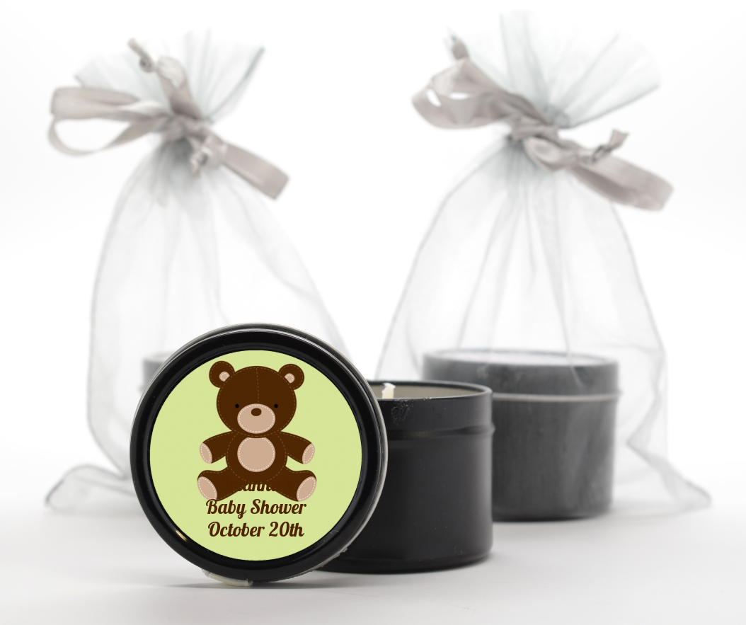 Teddy Bear Neutral - Baby Shower Black Candle Tin Favors