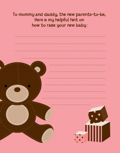 Teddy Bear Pink - Baby Shower Notes of Advice