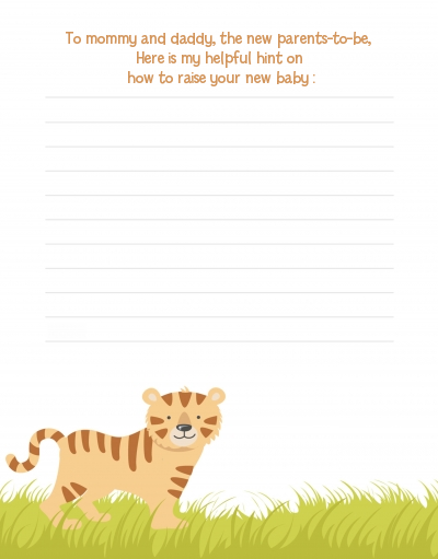 Tiger - Baby Shower Notes of Advice