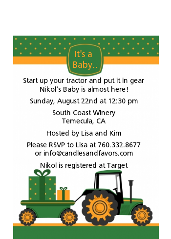 Tractor Truck - Baby Shower Petite Invitations Option 1
