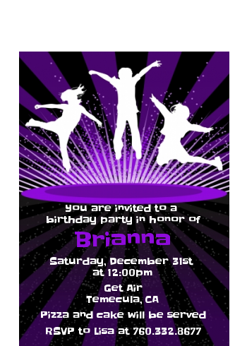 Trampoline - Birthday Party Petite Invitations Option 1