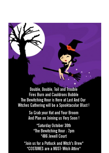Trendy Witch - Halloween Petite Invitations