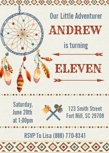 Dream Catcher - Birthday Party Invitations