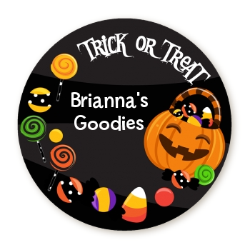Trick or Treat Candy - Round Personalized Halloween Sticker Labels
