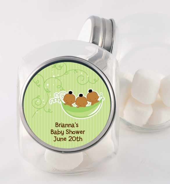 Triplets Three Peas in a Pod African American - Personalized Baby Shower Candy Jar Triplet Boys