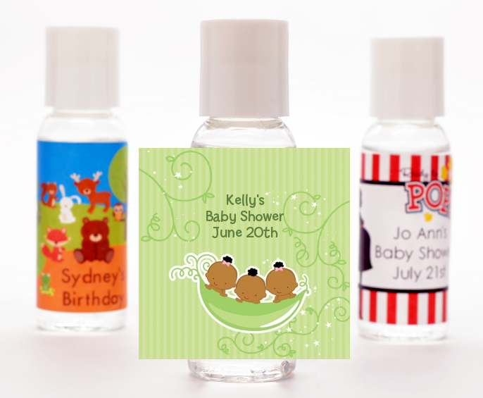Triplets Three Peas in a Pod African American - Personalized Baby Shower Hand Sanitizers Favors 2 Boys 1 Girl