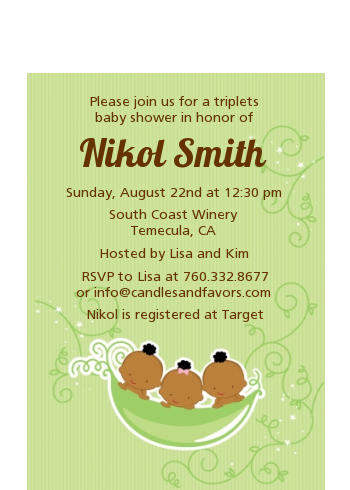 Triplets Three Peas in a Pod African American - Baby Shower Petite Invitations Triplet Boys