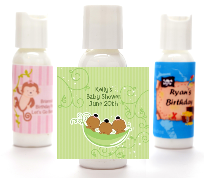 Triplets Three Peas in a Pod African American - Personalized Baby Shower Lotion Favors 2 Boys 1 Girl