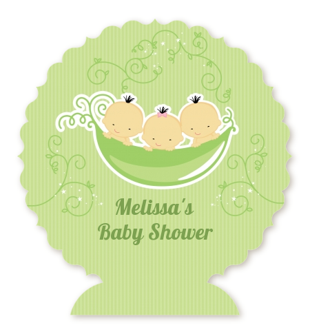 Triplets Three Peas in a Pod Asian - Personalized Baby Shower Centerpiece Stand 2 Boys 1 Girl