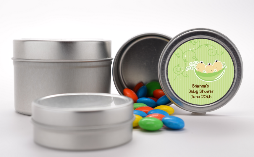 Triplets Three Peas in a Pod Asian - Custom Baby Shower Favor Tins 2 Boys 1 Girl