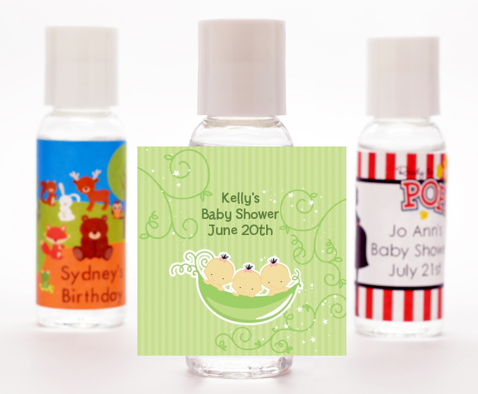 Triplets Three Peas in a Pod Asian - Personalized Baby Shower Hand Sanitizers Favors 2 Boys 1 Girl