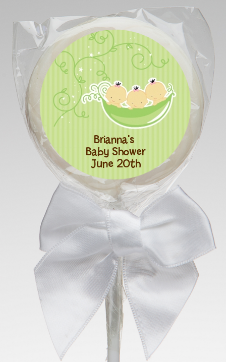 Triplets Three Peas in a Pod Asian - Personalized Baby Shower Lollipop Favors 2 Boys 1 Girl