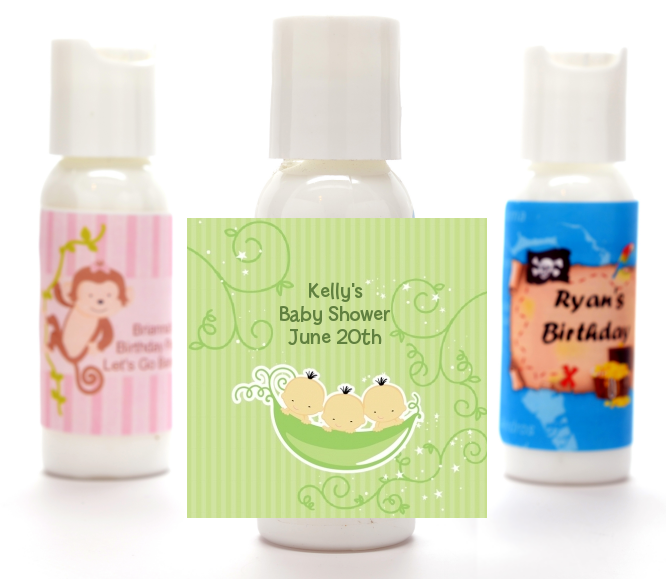 Triplets Three Peas in a Pod Asian - Personalized Baby Shower Lotion Favors 2 Boys 1 Girl