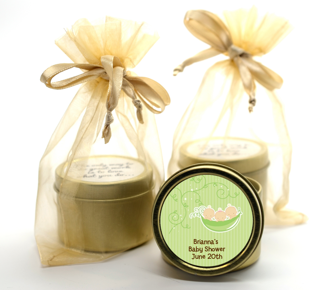 Triplets Three Peas in a Pod Caucasian - Baby Shower Gold Tin Candle Favors 2 Boys 1 Girl