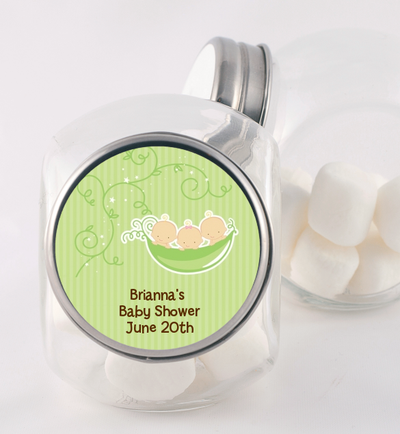 Triplets Three Peas in a Pod Caucasian - Personalized Baby Shower Candy Jar 2 Boys 1 Girl