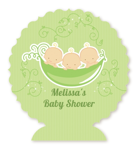 Triplets Three Peas in a Pod Caucasian - Personalized Baby Shower Centerpiece Stand 2 Boys 1 Girl