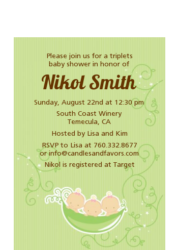 Triplets Three Peas in a Pod Caucasian - Baby Shower Petite Invitations 2 Boys 1 Girl
