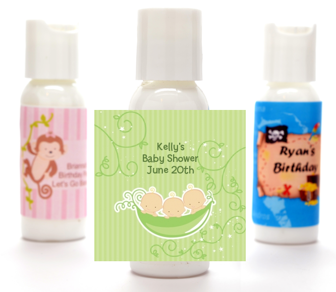 Triplets Three Peas in a Pod Caucasian - Personalized Baby Shower Lotion Favors 2 Boys 1 Girl