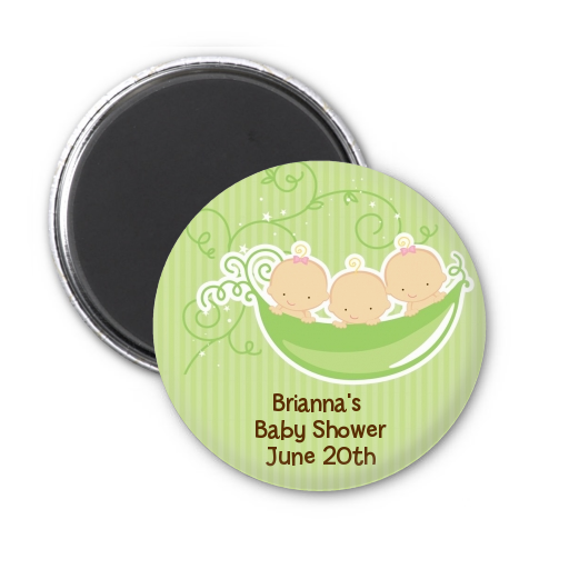 Triplets Three Peas in a Pod Caucasian - Personalized Baby Shower Magnet Favors 2 Boys 1 Girl