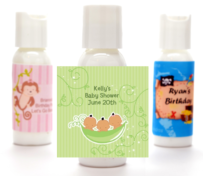 Triplets Three Peas in a Pod Hispanic - Personalized Baby Shower Lotion Favors 2 Boys 1 Girl