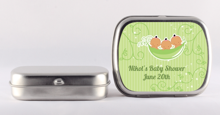 Triplets Three Peas in a Pod Hispanic - Personalized Baby Shower Mint Tins 2 Boys 1 Girl