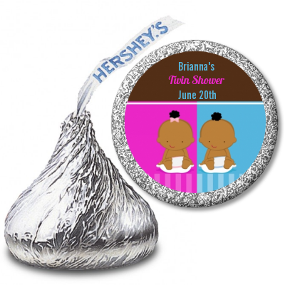 Twin Babies 1 Boy and 1 Girl African American - Hershey Kiss Baby Shower Sticker Labels