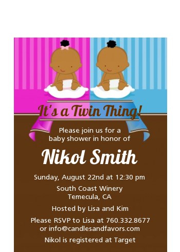 Twin Babies 1 Boy and 1 Girl African American - Baby Shower Petite Invitations
