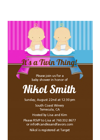 Twin Babies 1 Boy and 1 Girl Caucasian - Baby Shower Petite Invitations