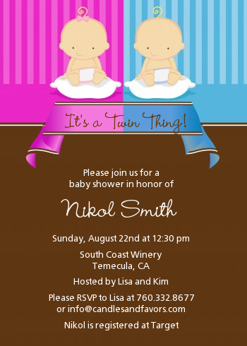 twin babies  boy and  girl caucasian baby shower invitations, Baby shower invitation