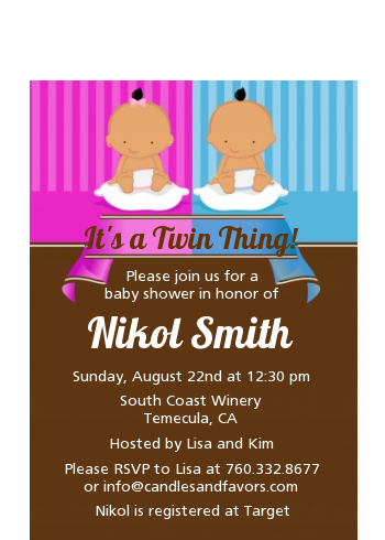 Twin Babies 1 Boy and 1 Girl Hispanic - Baby Shower Petite Invitations